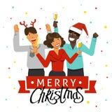Een Kerstmispartij in het bureau Verfraaide bureauwerkplaats Bureauteam die een vakantie met muziek en dans hebben Vlakke stijlve stock foto's