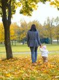 Een kind in de herfst op de aard en de moeder stock afbeelding
