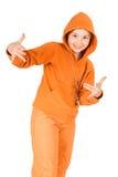 Een kind in een spoorkostuum Stock Fotografie