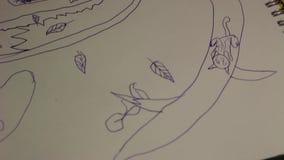 Een kind` s tekening stock footage
