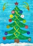 Een kind` s tekening van een Kerstboom met Kerstmisspeelgoed dat wordt verfraaid Stock Afbeelding