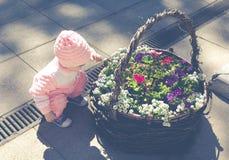 Een kind speelt in een bloembed Royalty-vrije Stock Afbeeldingen