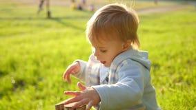 Een kind speelt in het Park stock video