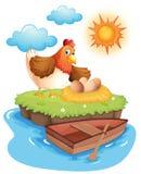 Een kip met eieren in een eiland Royalty-vrije Stock Afbeeldingen