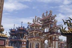 Een Klapbegraafplaats, Stad van Spoken, graven en details, Vietnam stock foto's
