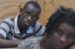 Een klaslokaal in Cite Soleil- Haïti. Stock Foto