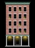 Een klassiek Amerikaans baksteenhuis met meerdere verdiepingen bij nacht Commercieel centrum van de stad Duur Real Estate vector illustratie