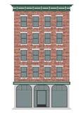 Een klassiek Amerikaans baksteenhuis met meerdere verdiepingen Commercieel centrum van de stad Duur Real Estate vector illustratie