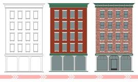 Een klassiek Amerikaans baksteenhuis met meerdere verdiepingen Stadia van het ontwerpen van en de bouw van een klassiek gebouw vector illustratie
