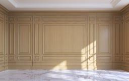 Een klassiek binnenland met het houten met panelen bekleden het 3d teruggeven Stock Foto