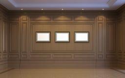 Een klassiek binnenland met het houten met panelen bekleden het 3d teruggeven Royalty-vrije Stock Foto