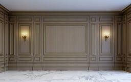 Een klassiek binnenland met het houten met panelen bekleden het 3d teruggeven Stock Afbeelding