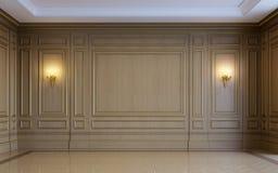 Een klassiek binnenland met het houten met panelen bekleden het 3d teruggeven Stock Afbeeldingen