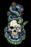 De tatoegering van de slang, van de schedel en van de dolk Stock Afbeelding