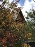 Een klassieke dorpsscène met gouden en oranje dalingsgebladerte Stock Afbeelding