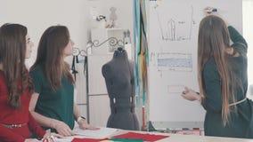 Een klein atelier: de vrouwenontwerpers bespreken nieuwe kleren stock video