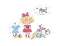 Een klein die meisje door speelgoed wordt omringd droomt over de hond Royalty-vrije Stock Foto