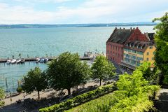 Een klein dorp op het meer in Beieren op het Meer van Konstanz stock foto