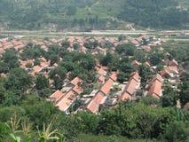 Een klein dorp op het plattelandsgebied van China Stock Fotografie