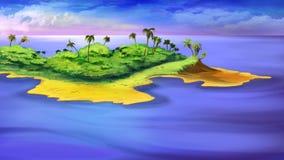 Een klein eiland in de oceaan vector illustratie