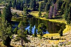 Een klein, kalm bergmeer die op zijn kleuren van de omgevings` mooie daling wijzen Stock Fotografie