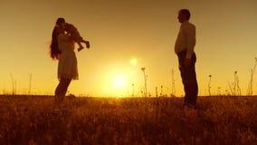 Een klein kind leert om met mamma en papa, jonge mooie familie op gebied met kind bij zonsondergang te lopen, Langzame motie stock videobeelden