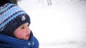 Een klein kind loopt in het de winterpark Een zonnige de winterdag Pret en spelen in de verse lucht stock videobeelden