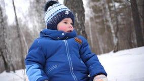 Een klein kind loopt in het de winterpark Een zonnige de winterdag Pret en spelen in de verse lucht stock video