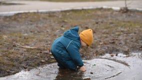 Een klein kind met een stok in zijn hand het spelen in een vulklei en trekt bladeren en huisvuil terug stock video