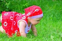 Een klein kind onderzoekt de wereld Stock Foto's