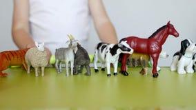 Een klein kind speelt het dierlijke leven met het leren speelgoed, ontwikkelt logica en motiliteit, de capaciteit om dieren te on stock video