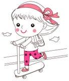 Een klein meisje die voor een rit op autoped gaan royalty-vrije illustratie