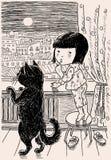 Een klein meisje en haar kat bekijken de nachtstad Royalty-vrije Stock Foto's