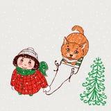 Een klein meisje en haar kat bekijken de sneeuw Royalty-vrije Stock Foto's