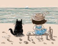Een klein meisje en haar kat rusten op de kust Stock Fotografie