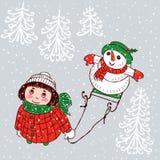 Een klein meisje en haar sneeuwman bekijken de sneeuw Royalty-vrije Stock Afbeelding