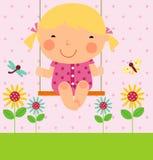 Een klein meisje op schommeling royalty-vrije illustratie