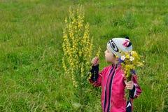 Een klein meisje ziet een bloem royalty-vrije stock foto's