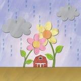 Een klein rood huis onder bloem op regenachtige dag Royalty-vrije Stock Foto's