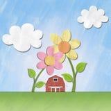 Een klein rood huis onder bloem op zonnige dag Royalty-vrije Stock Foto
