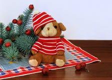 Een klein stuk speelgoed puppy in een rode hoed en nette takken met rode bessen naast het op witte achtergrond Stock Fotografie