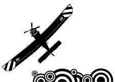 Een klein vliegtuigsilhouet Stock Fotografie