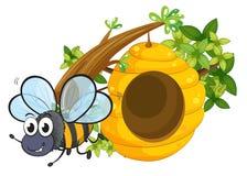 Een kleine bij dichtbij de bijenkorf vector illustratie