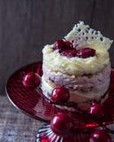 Een kleine cake met twee soorten chocolade en stukken frambozen op een rood dienblad Royalty-vrije Stock Afbeeldingen