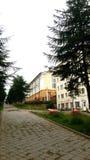 Een kleine comfortabele straat in de stad van Magadan stock fotografie