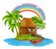 Een Kleine Hut op een Mooi Eiland royalty-vrije illustratie