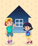 Een kleine jongen en een klein meisje die zich voor kleine hous bevinden vector illustratie
