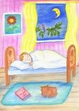 Een kleine jongen slaapt in zijn bed De ruimte van mooie kinderen bij nacht Illustraties voor kinderen royalty-vrije illustratie