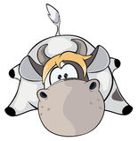 Een kleine koe beeldverhaal Royalty-vrije Stock Foto's