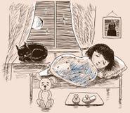 Een kleine meisjesslaap in haar ruimte Royalty-vrije Stock Foto's